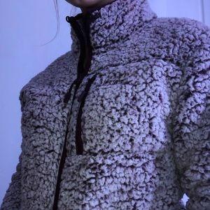 Pink fuzzy jacket , zip up